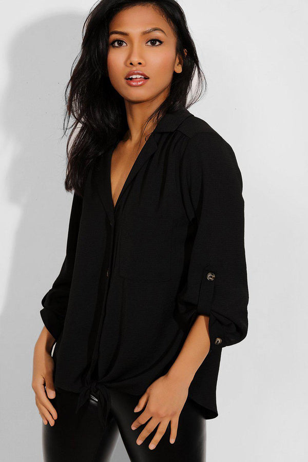 Black Buttons Front Knot Detail Shirt