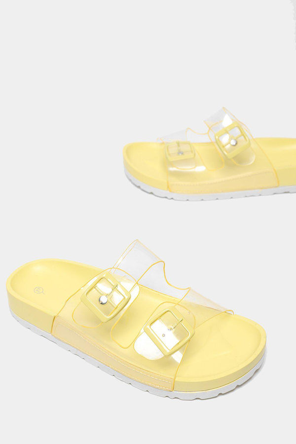 Twin Transparent Straps Yellow Sliders-SinglePrice
