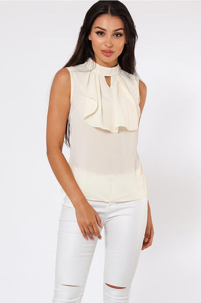 Cream Sleveless Jabot Blouse-SinglePrice