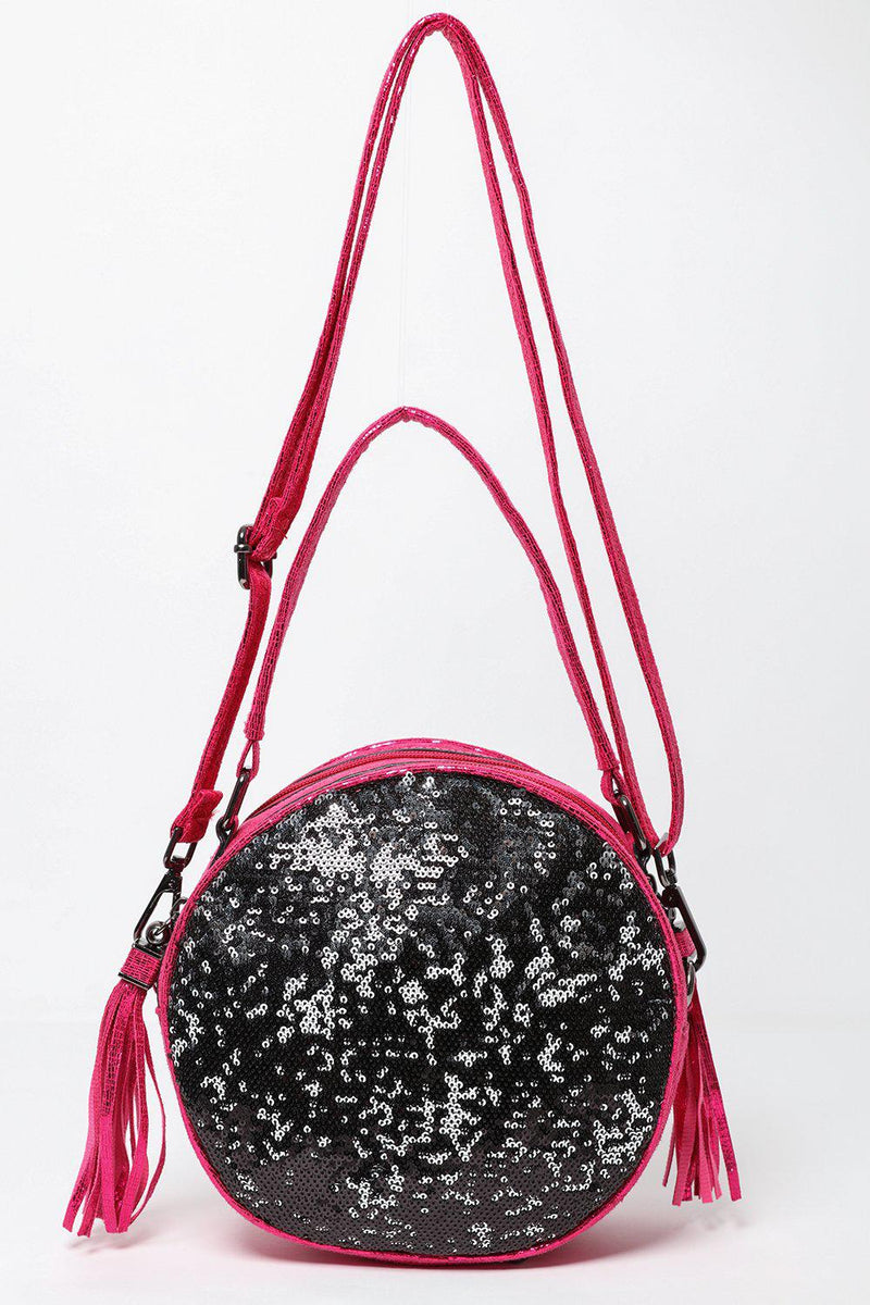 Pink Shimmer Sequinned Round Bag-SinglePrice