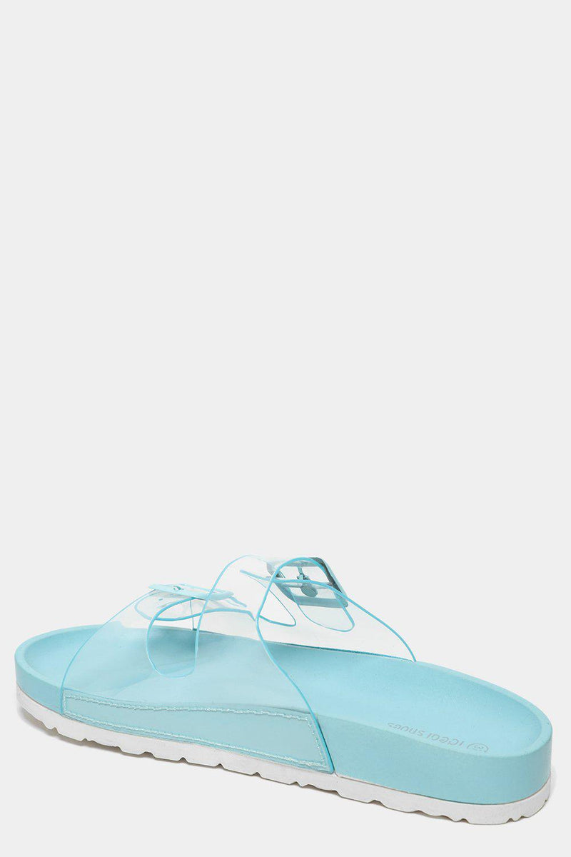 Twin Transparent Straps Blue Sliders - SinglePrice