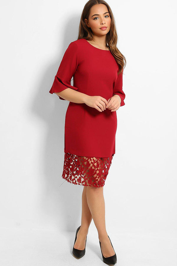 Burgundy Crochet Lace Hem Midi Dress - SinglePrice