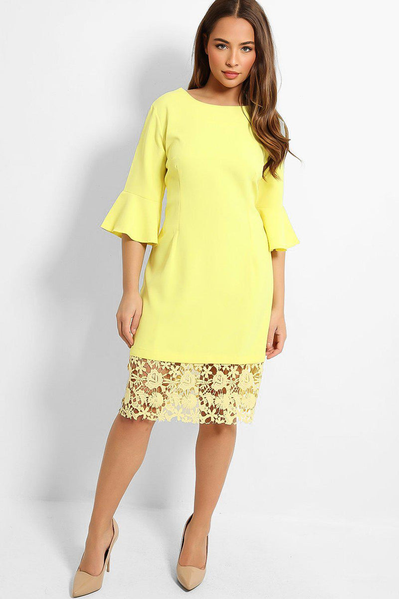 Yellow Crochet Lace Hem Midi Dress - SinglePrice