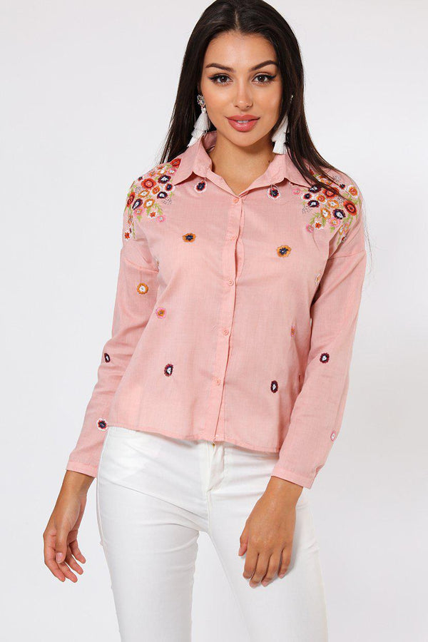 Pink Flower Embroidered Shirt-SinglePrice
