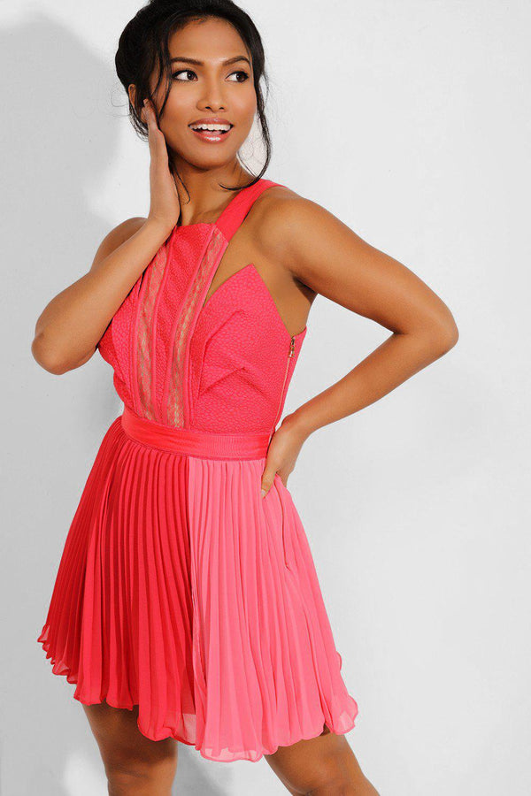 Pink Pleated Structured Mini Dress-SinglePrice