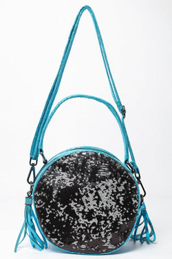 Blue Shimmer Sequinned Round Bag-SinglePrice