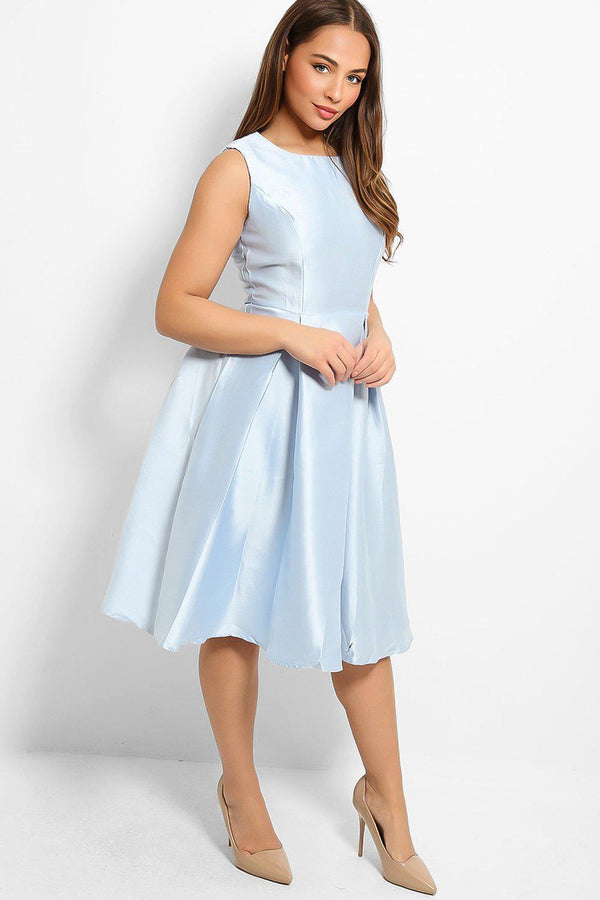 Ice Blue Sleeveless Taffeta Dress-SinglePrice