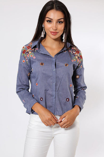 Blue Flower Embroidered Shirt-SinglePrice