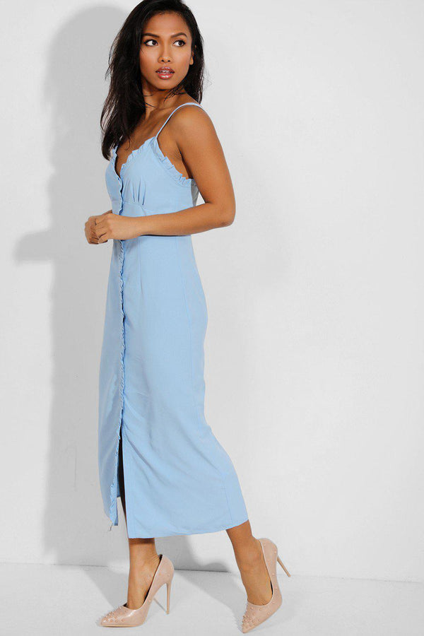 Blue Frilled Trims Buttons Front Cami Maxi Dress-SinglePrice