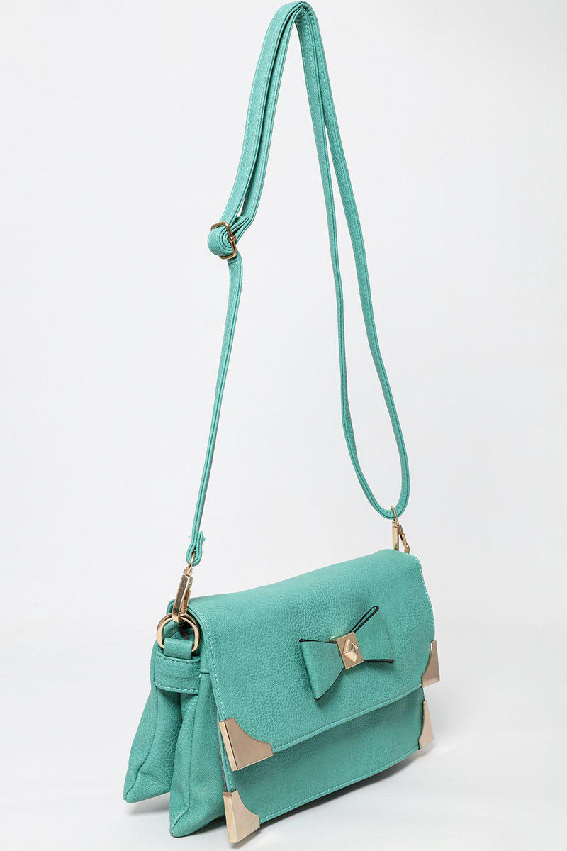 Metal Corners Bow Front Green Cross Body Bag - SinglePrice