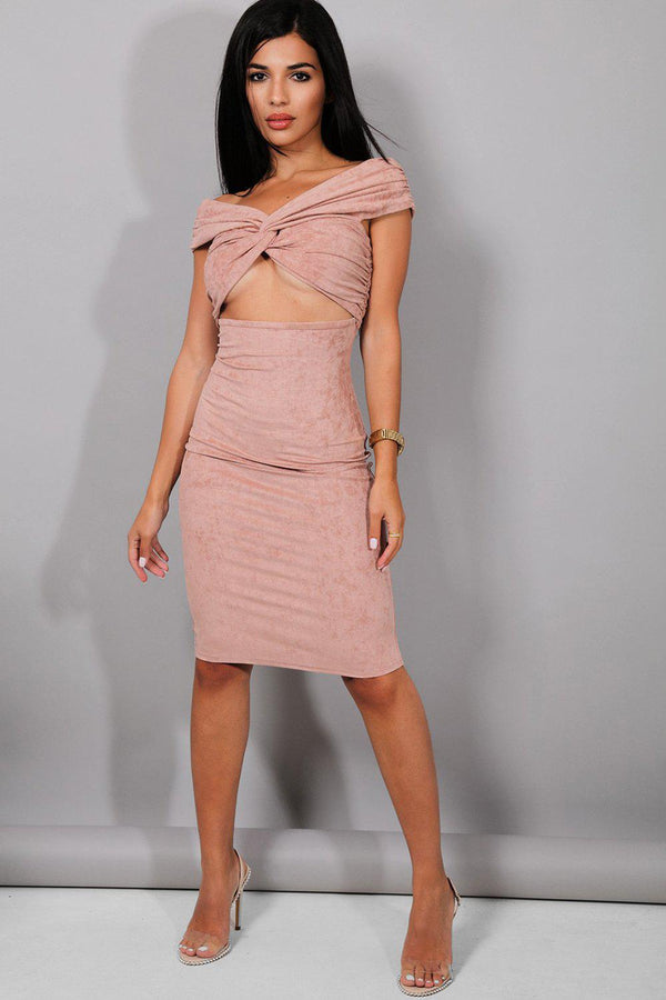 Dusty Pink Suedette Twisted Underboob Midi Dress - SinglePrice