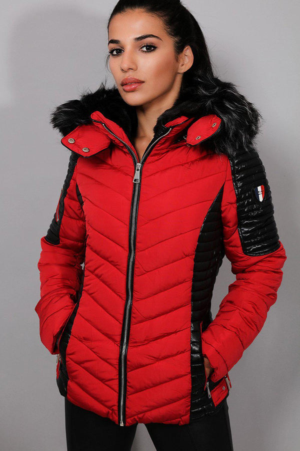 Red Chevron Quilt Padded Racer Jacket - SinglePrice