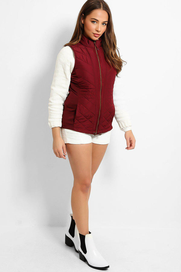 Burgundy Full Zip Quilted Puffer Gilet - SinglePrice