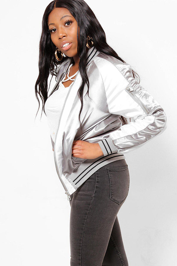 White And Silver Grey Satin Bomber Jacket-SinglePrice