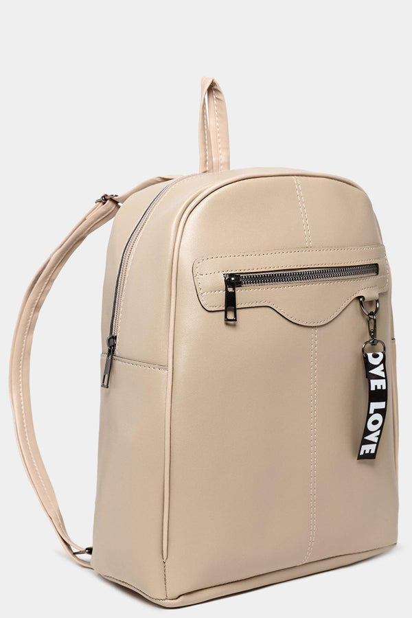 Beige Backpack With Love Slogan Pendant-SinglePrice
