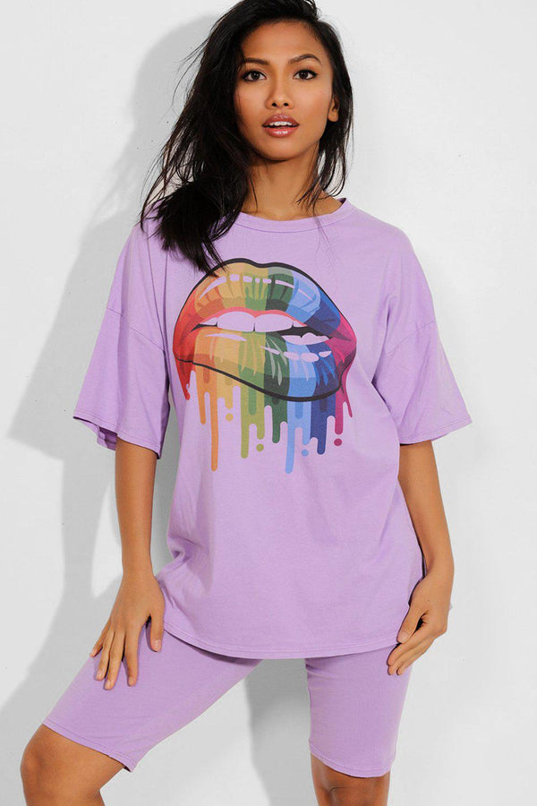 Lilac Multicolour Lips Print T-Shirt And Cycling Shorts Set