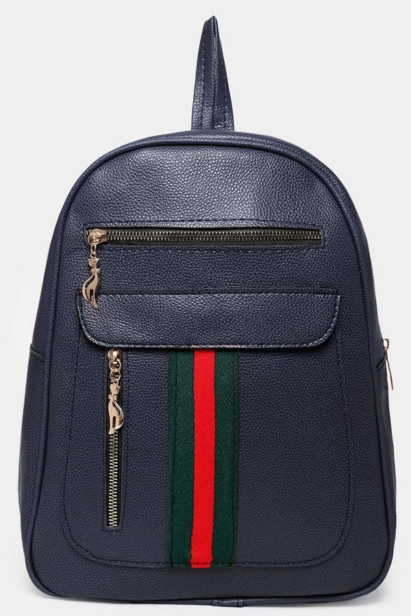 Front Slip Pocket Tape Stripe Detail Navy Backpack-SinglePrice