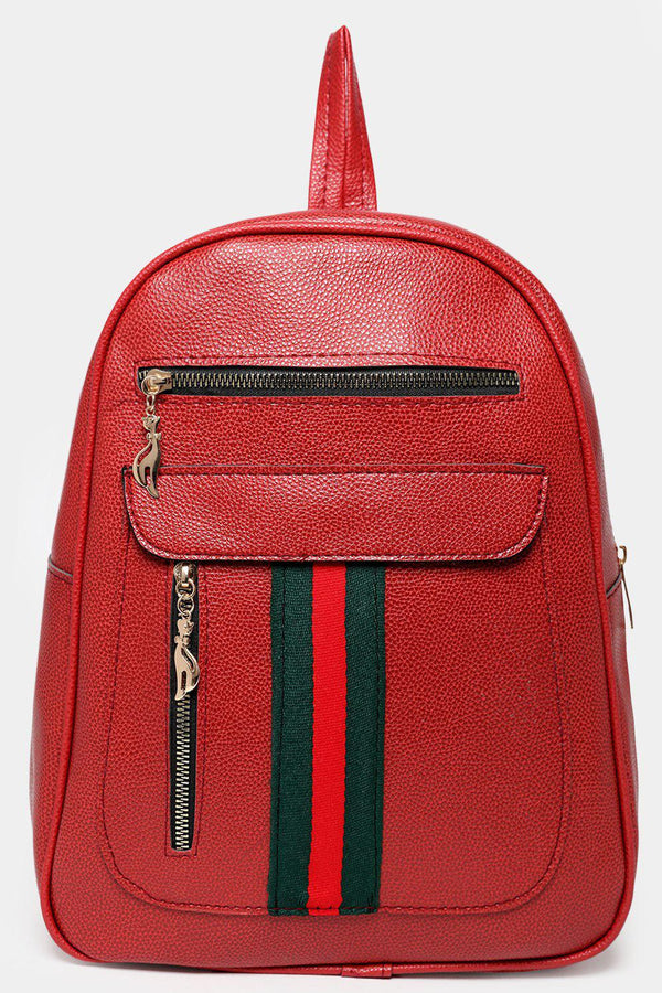 Front Slip Pocket Tape Stripe Detail Red Backpack-SinglePrice