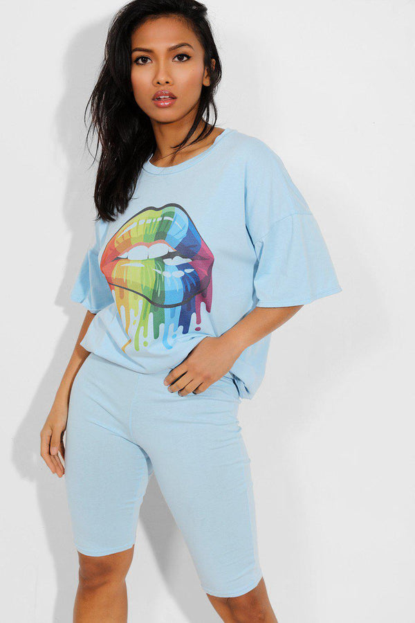Sky Blue Multicolour Lips Print T-Shirt And Cycling Shorts Set