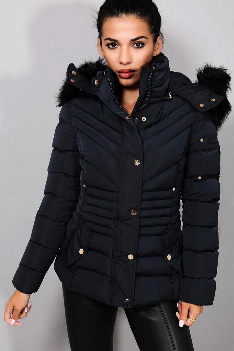 Navy Quilted Detachable Faux Fur Hood And Sleeve Pocket Jacket - SinglePrice