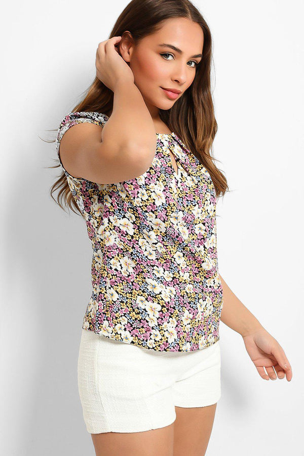 Beige Purple Floral Print Keyhole Front Top - SinglePrice