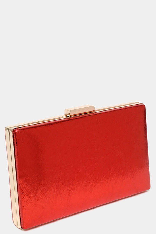 Red Metallic Faux Leather Box Clutch-SinglePrice