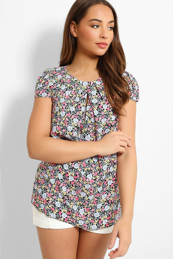 Pink Blue Floral Print Keyhole Front Top - SinglePrice