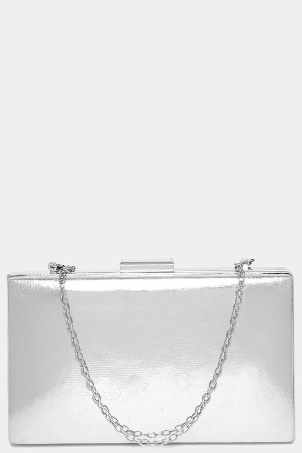 Silver Metallic Faux Leather Box Clutch-SinglePrice