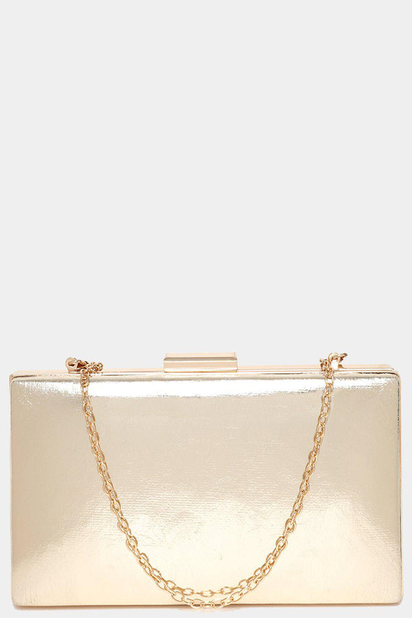 Gold Metallic Faux Leather Box Clutch-SinglePrice