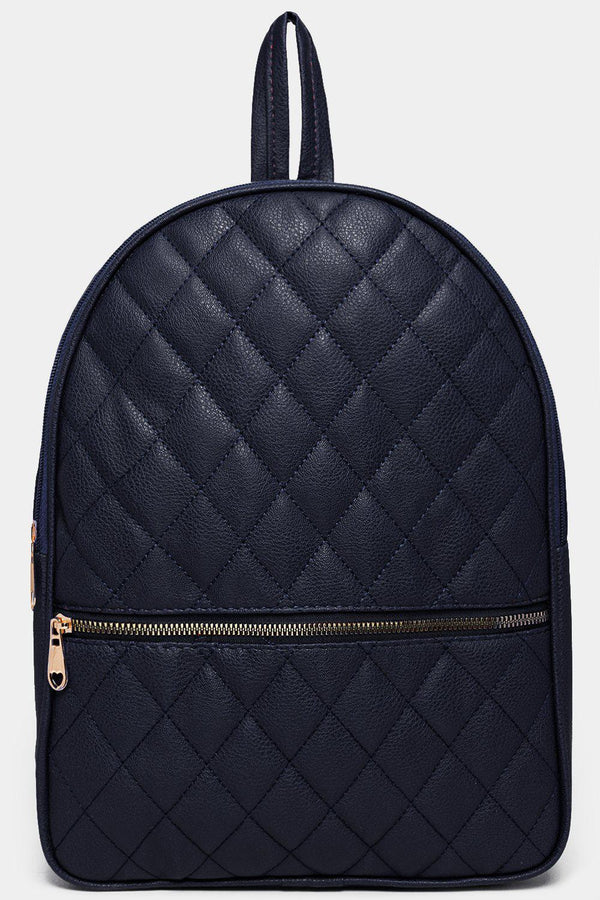 Navy Quilted Horizontal Zip Detail Backpack-SinglePrice