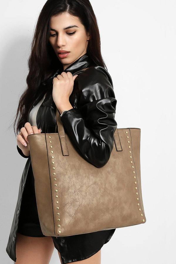 Taupe Vegan Leather Gold Studs Trims Large Tote Bag - SinglePrice