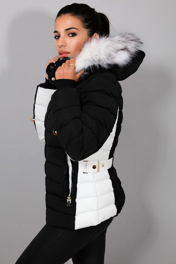 Black White Belt Detail Quilted Padded Detachable Hood Jacket - SinglePrice