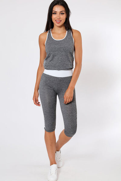 White & Grey Top And Cropped Leggings Sports Set-SinglePrice