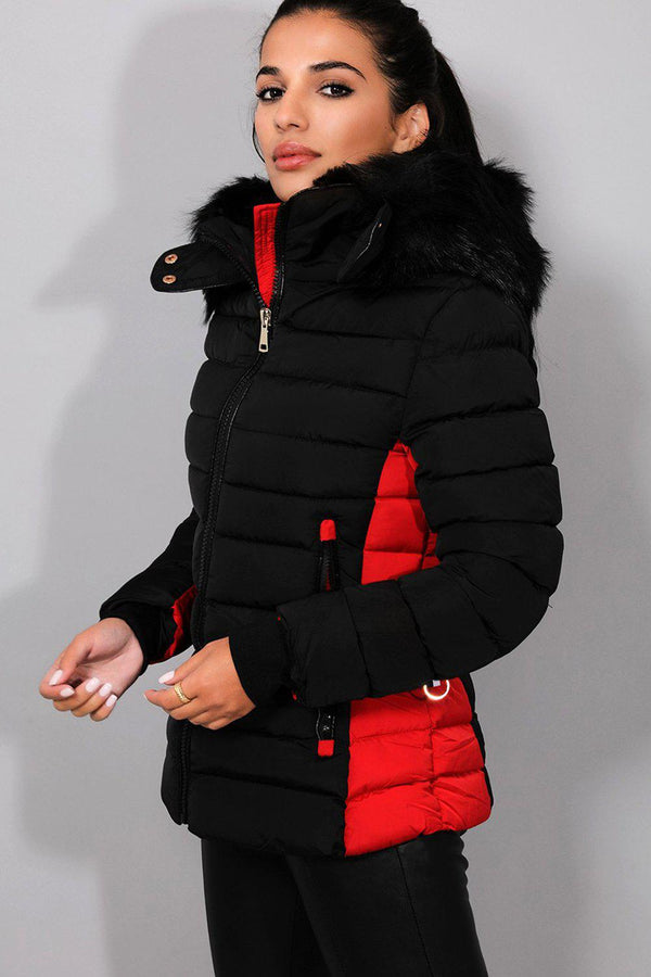 Black Red Belt Detail Quilted Padded Detachable Hood Jacket - SinglePrice