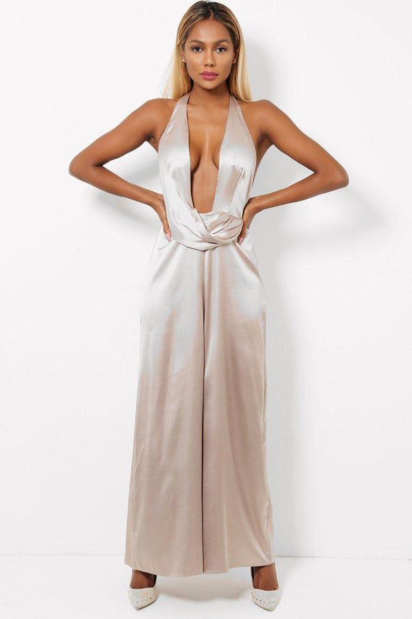Gold Satin Halter Neck Jumpsuit-SinglePrice