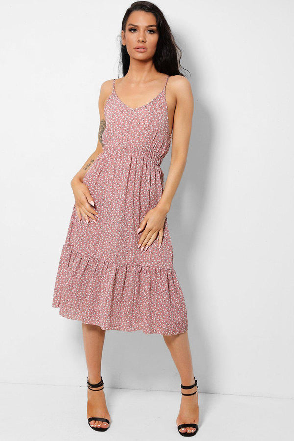 Floral Print Dusty Pink Midi Dress-SinglePrice