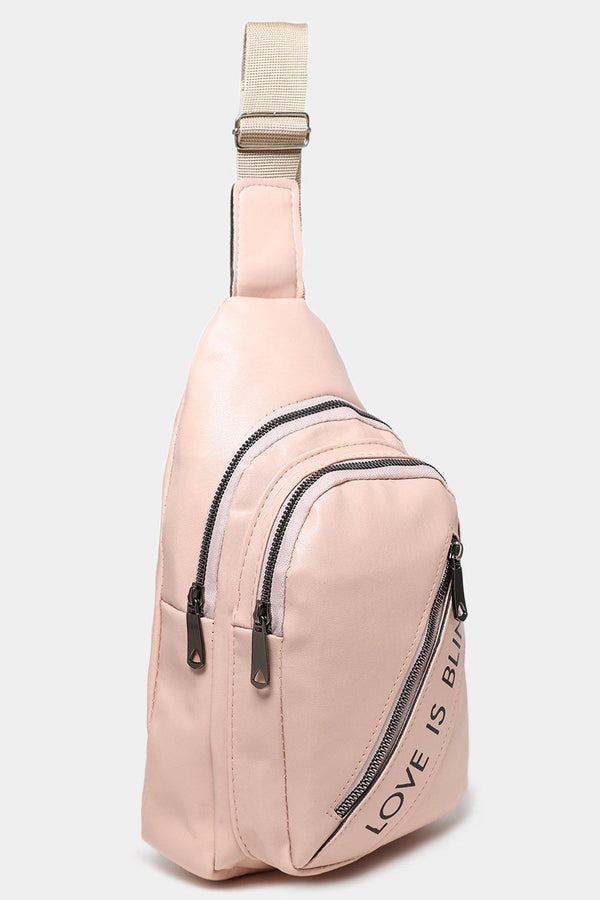 Pink Love Is Bling Slogan One Shoulder Backpack-SinglePrice