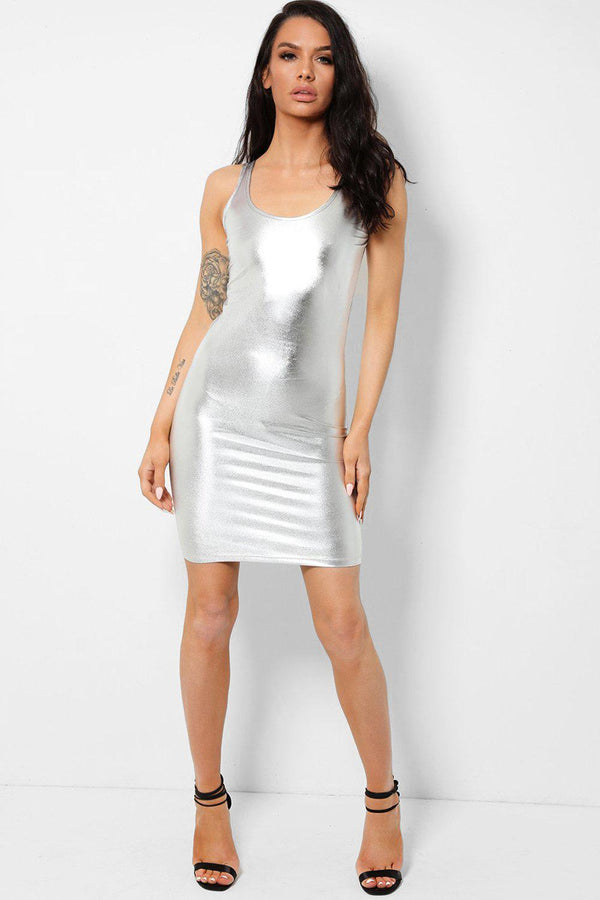 Mirror Silver Sleeveless Bodycon Dress-SinglePrice