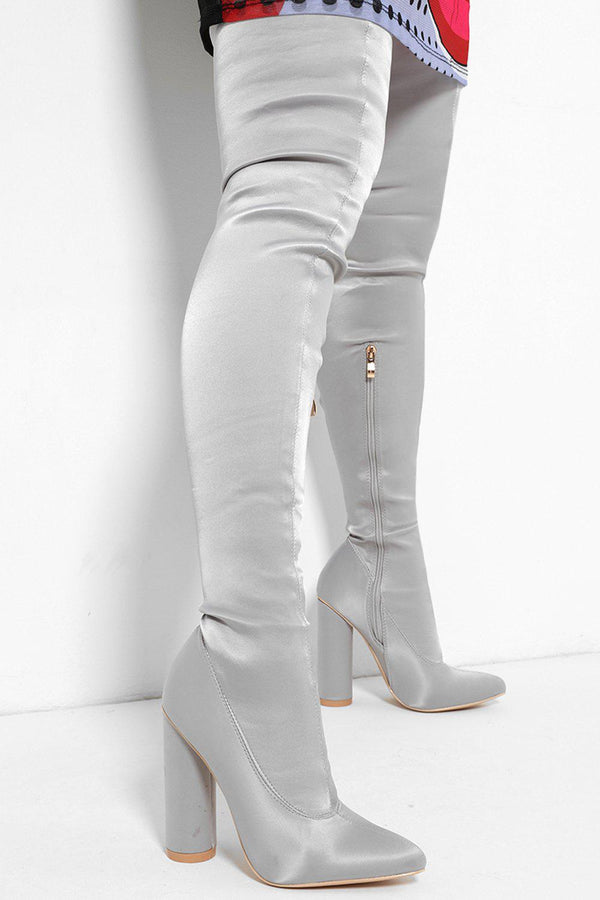 Satin Grey Over The Knee Pointy Heels-SinglePrice