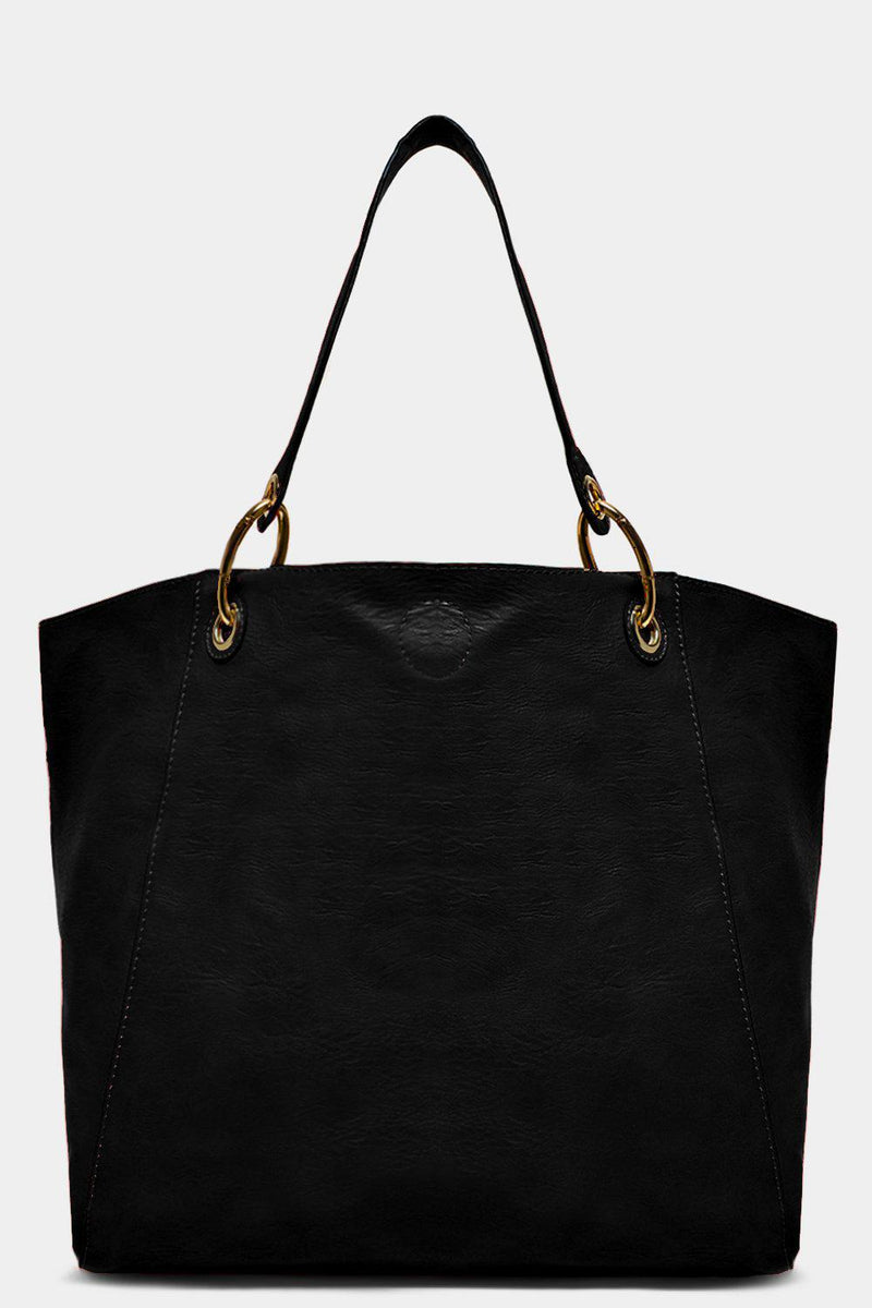 Black Aged Vegan Leather Large Handbag With Medium Crossbody Bag - SinglePrice