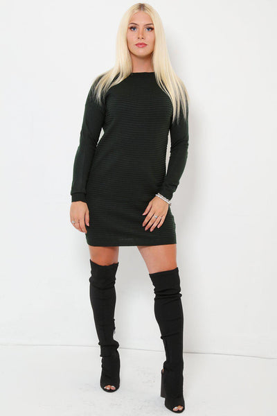 Crew Neck Ribbed Knit Dark Green Jumper Dress-SinglePrice
