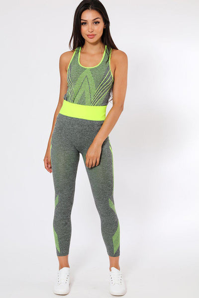 Neon Green Design Top And Leggings Sports Set-SinglePrice