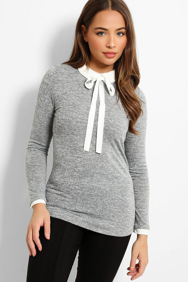 Grey White Pussy-Bow Shirt Insert Flat Knit Pullover - SinglePrice