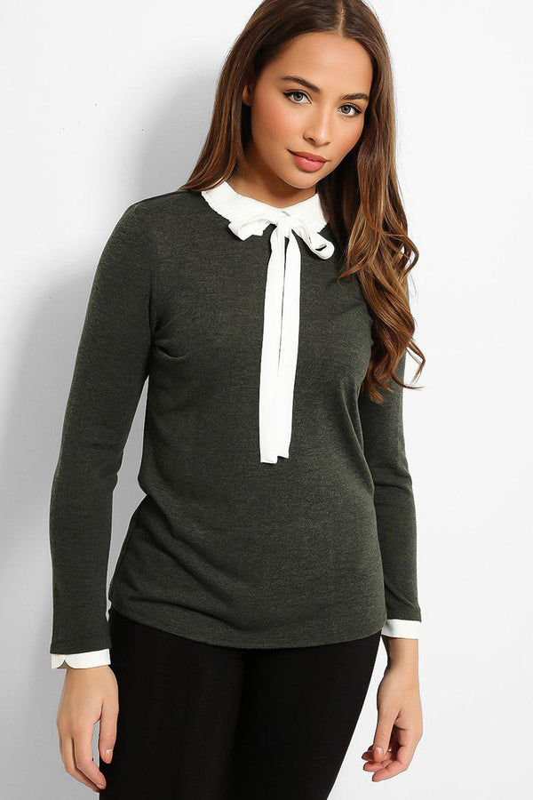 Khaki White Pussy-Bow Shirt Insert Flat Knit Pullover - SinglePrice