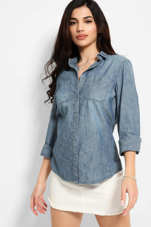 Blue Thin Denim Popper Button Shirt - SinglePrice