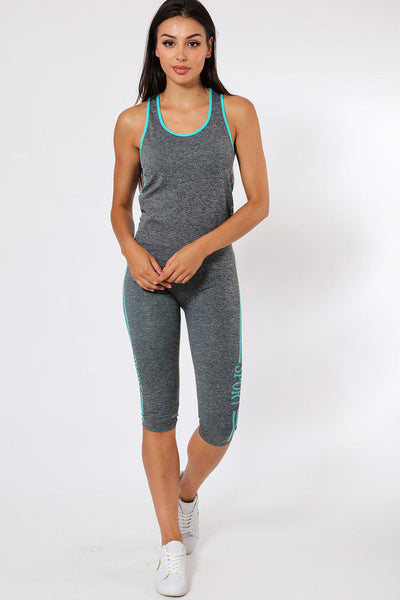 Blue Lines Top And Cropped Leggings Sports Set-SinglePrice