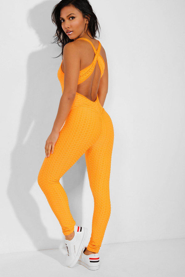 Neon Orange Ruched Crisscross Back Catsuit - SinglePrice