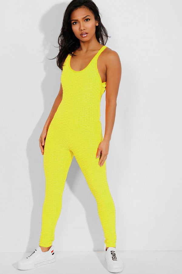 Neon Yellow Ruched Crisscross Back Catsuit - SinglePrice