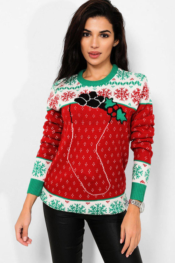 Red Christmas Stocking Pullover - SinglePrice