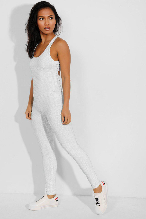 White Ruched Crisscross Back Catsuit - SinglePrice